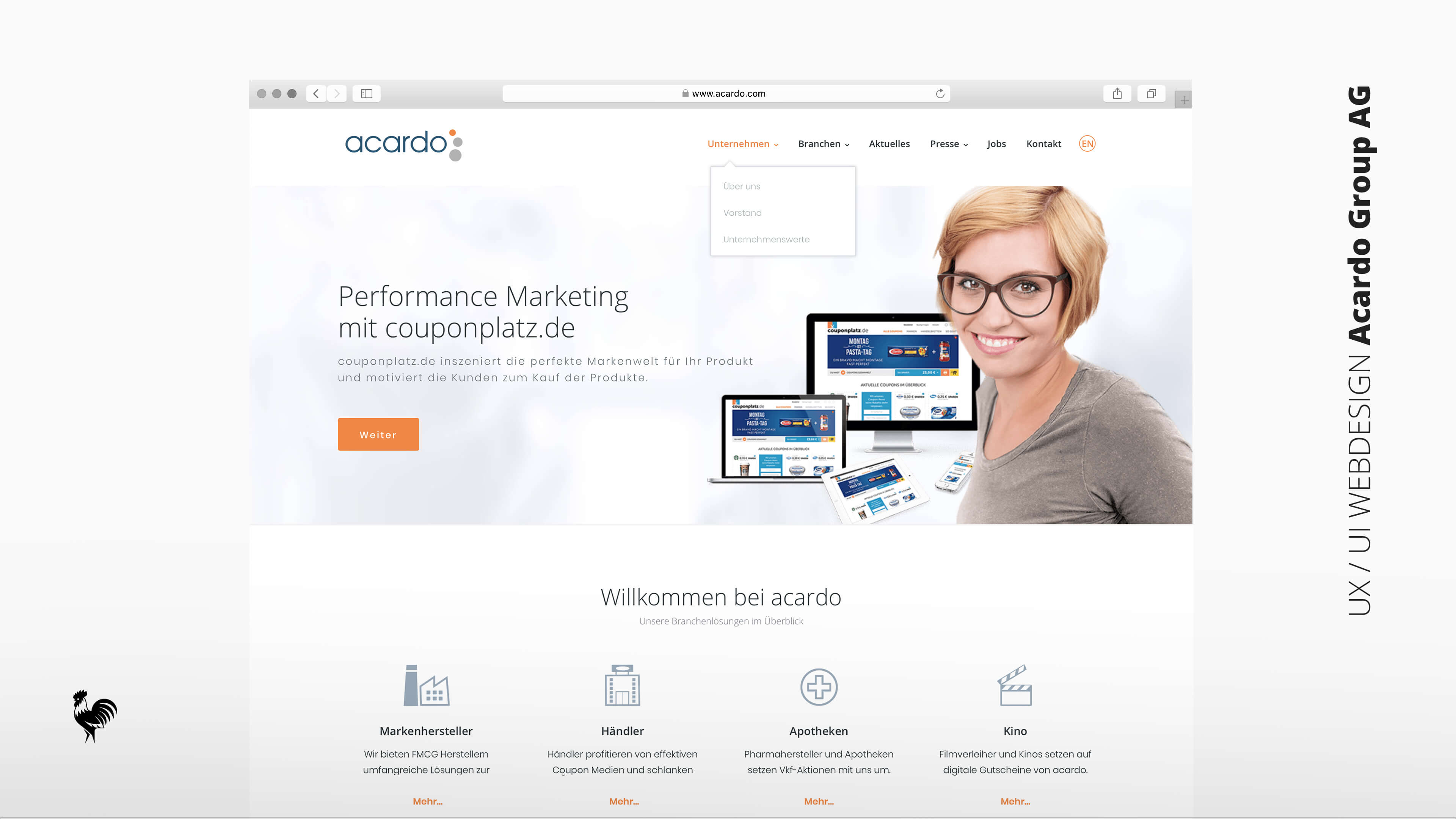 Webdesign UI & UX Webapplikation Acardo Group AG